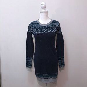 If It Were Me Sweater Dress Blue Gray White XS